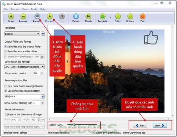 Hướng dẫn sử dụng Batch Watermark Creator 7 - Bước 9